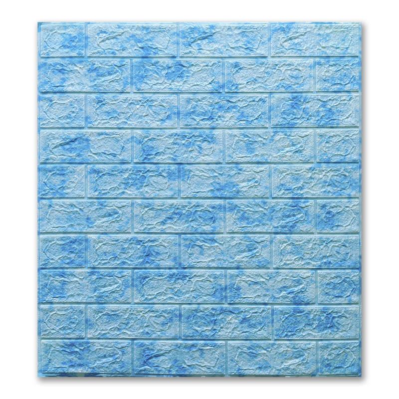 Самоклеющиеся обои под Голубой Мрамор кирпич (самоклеющиеся 3d панели для стен оригинал) 700x770x5 мм