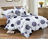 Евро комплект постельного белья ранфорс с компаньоном R7420