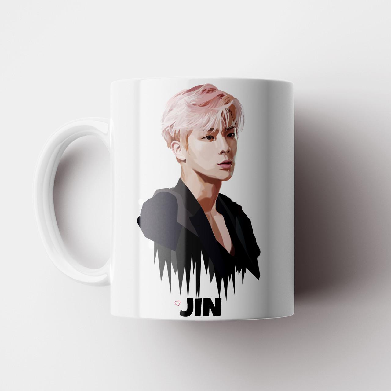 Чашка Jin BTS. Чашка з принтом Джин БТС №14. Музика. Чашка з фото