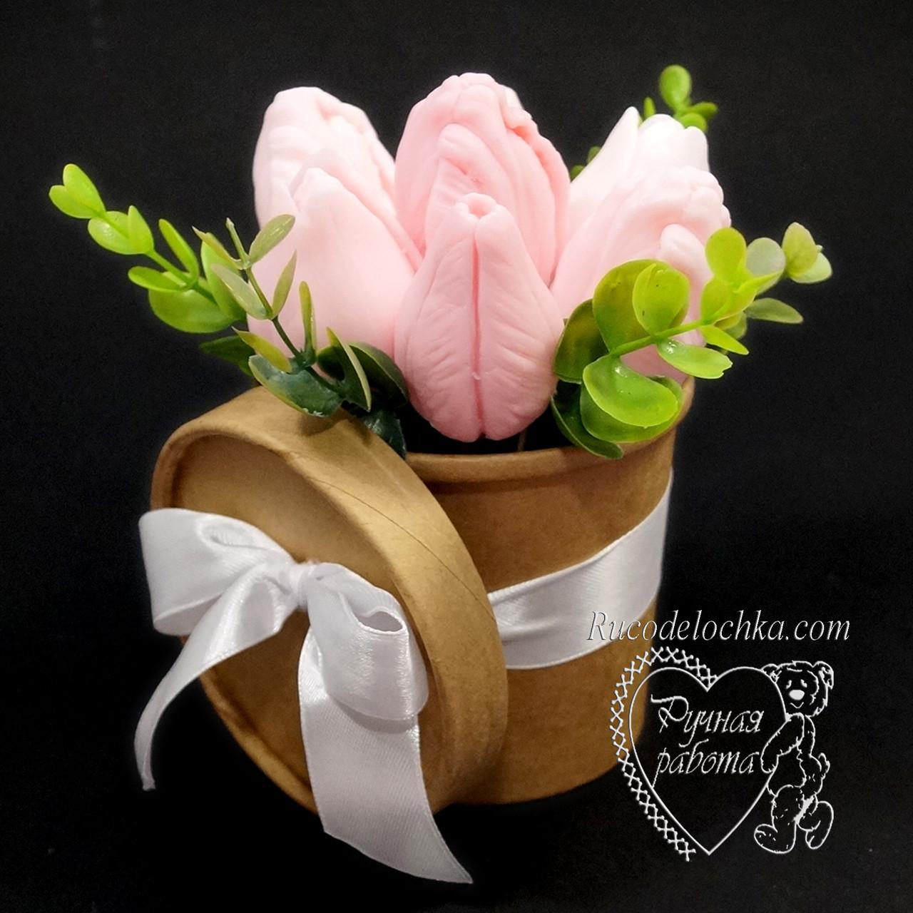 Букет из мыла в крафтовом стакане, мыльный букет, набор мыла женского, подарок 8 марта