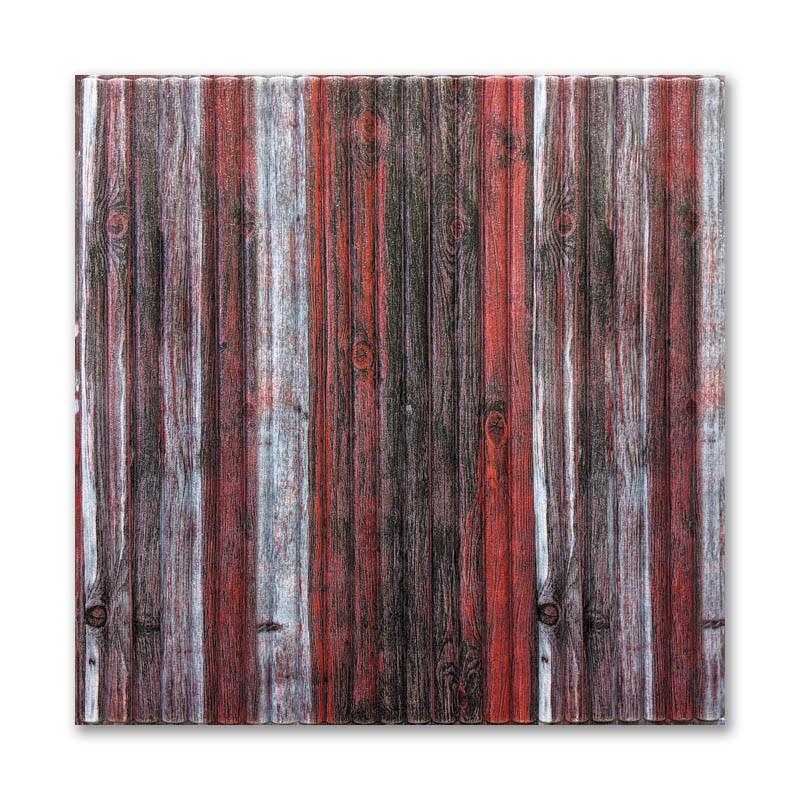 Самоклеющиеся обои под Красно-Серый Бамбук (самоклеющиеся пластиковые 3d панели под дерево) 700x700x8.5 мм