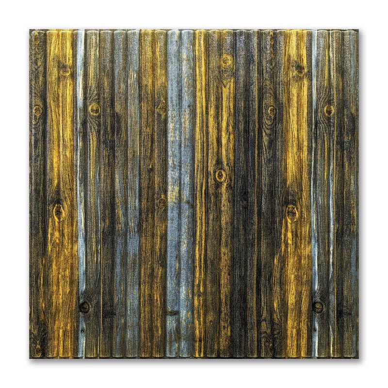 Самоклеющиеся обои под Серо-Коричневый Бамбук (самоклеющиеся пластиковые 3d панели под дерево) 700x700x8 мм
