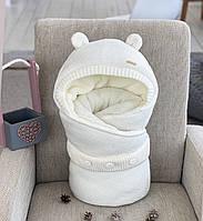 """Зимний конверт для новорожденных """"Мишутка"""", молочный, фото 1"""