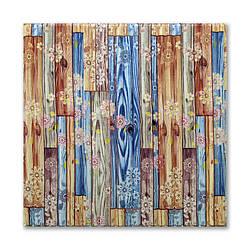 Самоклеющиеся обои под Бамбук Цветы (самоклеющиеся пластиковые 3d панели под дерево на стены) 700x700x8 мм