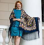 Посадский 874-14, павлопосадский платок (шаль) из уплотненной шерсти с шелковой вязаной бахромой, фото 10