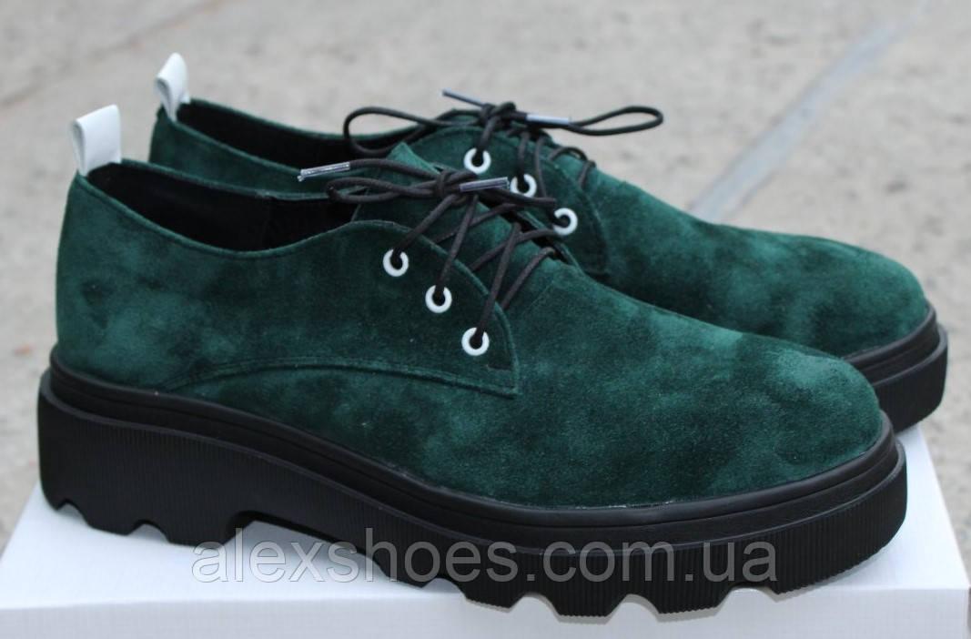 Туфли женские из натуральной замши от производителя модель ОУ9010-2