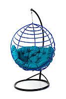 Подвесное кресло кокон для дома и сада с большой подушкой до 250 кг бирюзового цвета в синем коконе AURORA