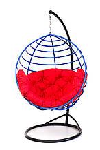 Підвісне крісло кокон для дому та саду з великою подушкою до 150 кг червоного кольору в синьому коконі