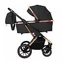 Универсальная коляска черная Carrello Aurora 3 в 1 золотая рама автокресло люлька прогулочный блок дождевик, фото 2
