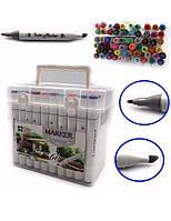 Скетч маркеры SketchMarker M&S Twin двусторонние для бумаги набор 60 шт трехранные 2588-60