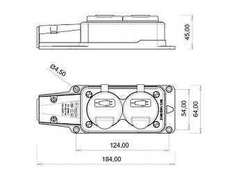Розетка настінна подвійна, з кришкою BEMIS 1P + N + E  220-250В 16А  каучукова IP54, фото 2