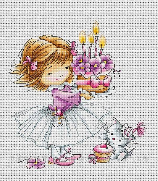 """Набор для вышивания крестом """"Luca-s"""" B1054 Девочка с котёнком и тортиком"""
