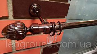 Карниз кованый одинарный 19мм Одеон черный никель-1,6м