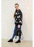 Модный женский черный маленький городской, повседневный рюкзак матовая эко-кожа, фото 5