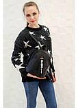 Модный женский черный маленький городской, повседневный рюкзак матовая эко-кожа, фото 6