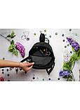 Модный женский черный маленький городской, повседневный рюкзак матовая эко-кожа, фото 4