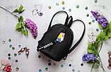 Модный женский черный маленький городской, повседневный рюкзак матовая эко-кожа, фото 10