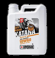 Моторное масло IPONE Katana Off Road 10W60 (4л) для внедорожных мотоциклов. JASO MA-2, API SN