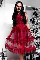 Женское красивое платье из кружева марсала
