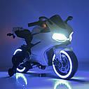 Детский электромобиль Мотоцикл M 4104 EL-1, EVA колеса, LED подсветка, белый, фото 9