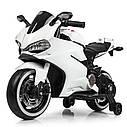 Детский электромобиль Мотоцикл M 4104 EL-1, EVA колеса, LED подсветка, белый, фото 4