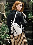 Стильный женский небольшой рюкзак городской, повседневный пудра (светло-розовый), матовая эко-кожа, фото 9