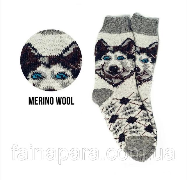 Теплі вовняні чоловічі шкарпетки з малюнком