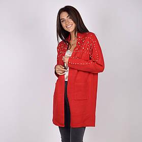 Кардиган трикотажный женский с карманами до колена в цветах: черный,серый, джынс,красный в размерах S/M L/XL