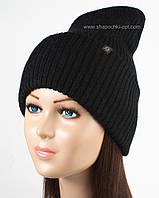 Стильная вязаная шапка Элиза черная