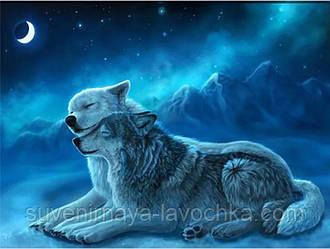 """Повна алмазна вишивка """" Вовки.Побачення під місяцем"""", полотно 50 x 40 см"""