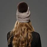 Шапка зимняя женская теплая. Модная женская шапка бини с натуральным меховым помпоном Кофейный, фото 3