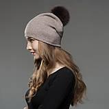 Шапка зимняя женская теплая. Модная женская шапка бини с натуральным меховым помпоном Кофейный, фото 2