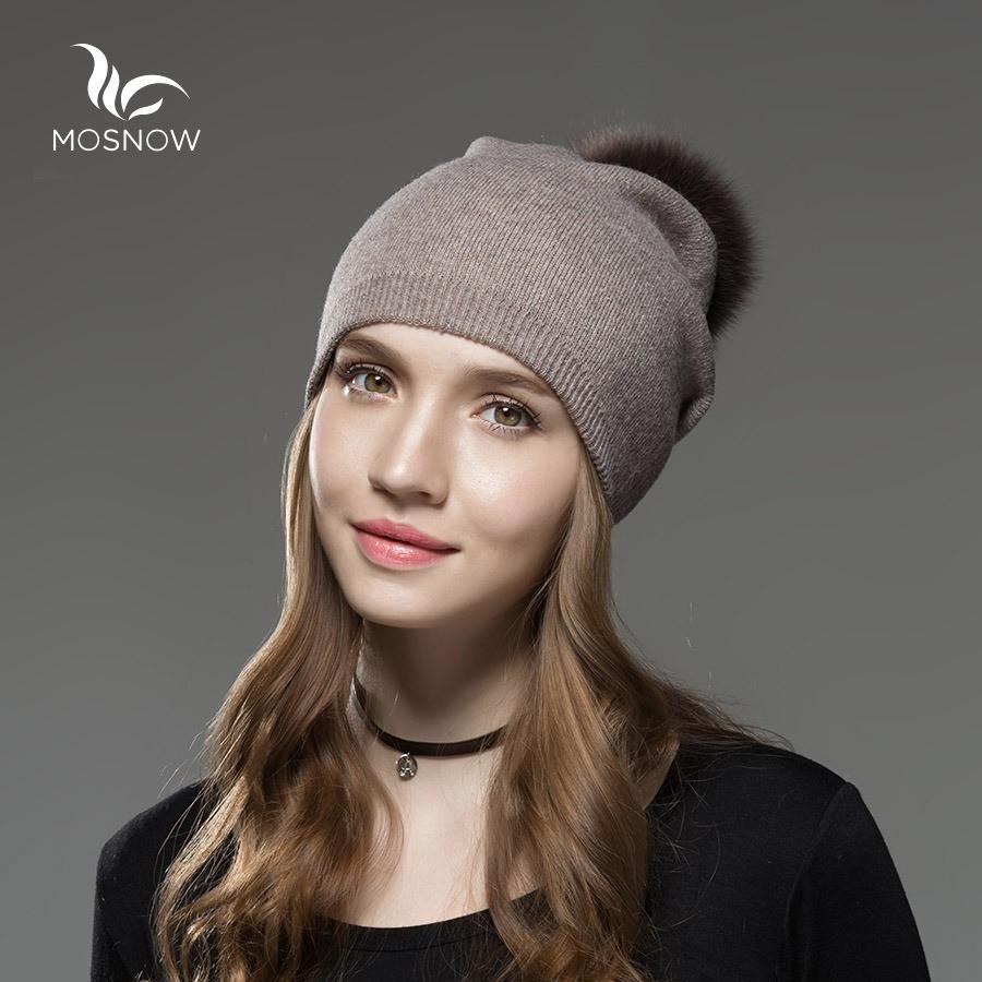 Шапка зимняя женская теплая. Модная женская шапка бини с натуральным меховым помпоном Кофейный