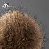 Шапка зимняя женская теплая. Модная женская шапка бини с натуральным меховым помпоном Кофейный, фото 4