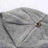 Шапка зимняя женская теплая. Модная женская шапка бини с натуральным меховым помпоном Кофейный, фото 5