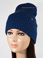 Стильная удлиненная шапка Элиза синяя