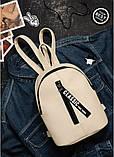Небольшой женский бордовый мини рюкзак городской, повседневный матовая эко-кожа, фото 6
