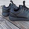 Чорні кросівки чоловічі nike roshe run копія демі демисезон еко шкіряні чорні кросівки демісезон, фото 2