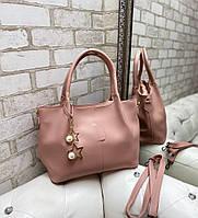 Вместительная розовая женская сумка на плечо шоппер пудра экокожа