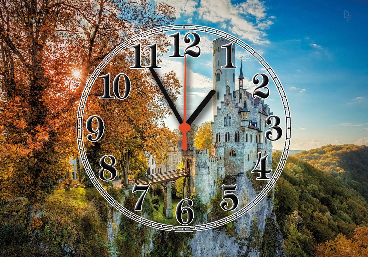 """Годинники настінні скляні """"Замок Ліхтенштайн"""""""