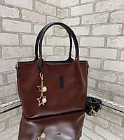 Большая вместительная бордовая женская сумка на плечо шоппер экокожа
