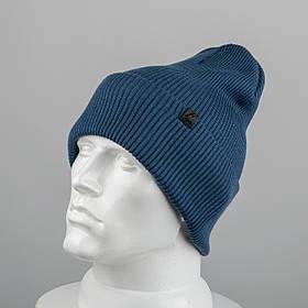 Молодежная шапка Резинка с отворотом (20102) Джинс
