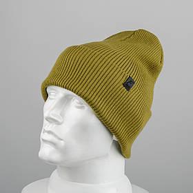 Молодежная шапка Резинка с отворотом (20102) Оливковый