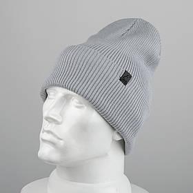 Молодежная шапка Резинка с отворотом (20102) Светло-серый