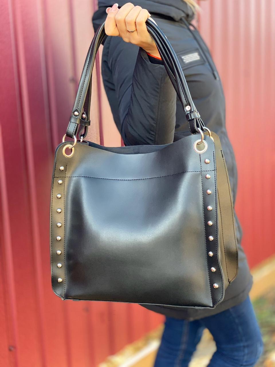 Большая черная женская сумка на плечо шоппер городская брендовая экокожа