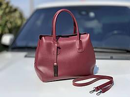 Классическая бордовая женская сумка на плечо городская сумочка марсала экокожа
