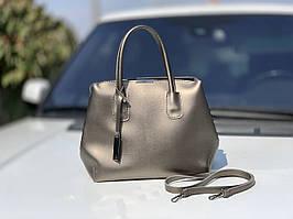 Классическая серебристая женская сумка на плечо городская сумочка графит экокожа