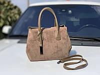 Большая замшевая женская сумка деловая городская вместительная натуральная замша+экокожа, фото 1
