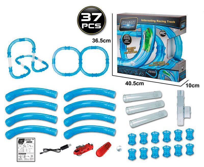 Автотрек трубопроводный 022-2 (16) на р/у, 1 машинка, 37 элементов, в коробке