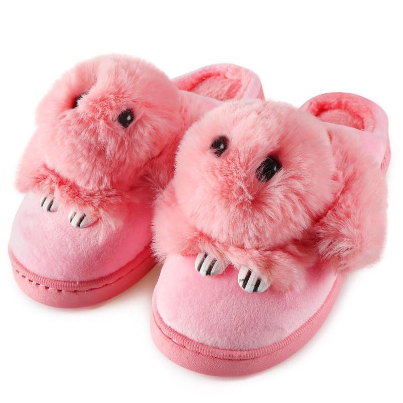 Тапочки домашні жіночі кімнатні Кролики. Теплі хутряні капці Зайчики, р. 36-37 Світло рожевий